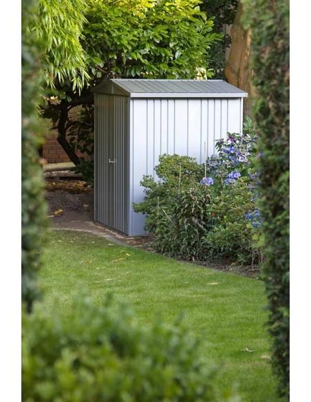 Abri de jardin en métal argenté