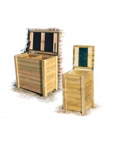 Coffre poubelle en bois