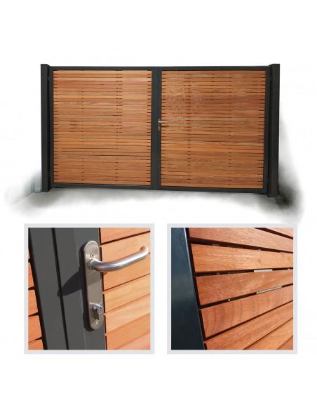 Metalen frame houten poort