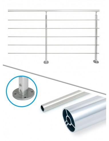 Kit de balustrade 2 m à plat - tube et alu