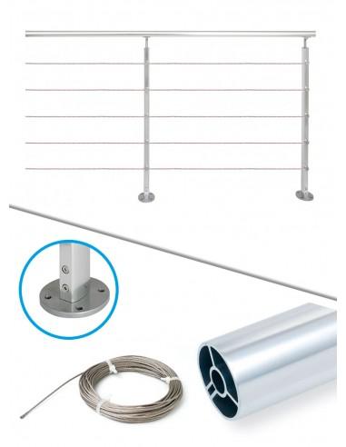 Kit de balustrade 2 m à plat - câble et alu