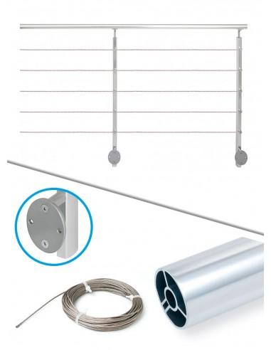 Kit de balustrade 2 m latéral - câble et alu