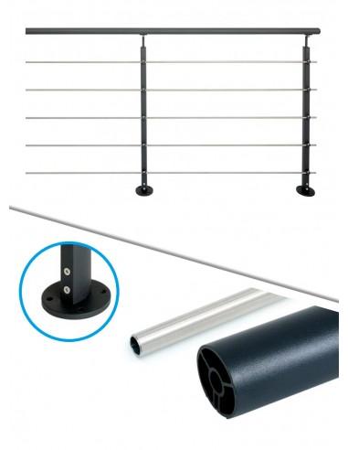 Kit de balustrade 2 m à plat - tube et noir