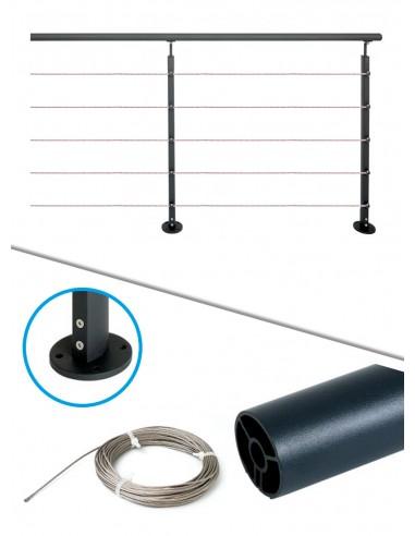Kit de balustrade 2 m à plat - câble et noir