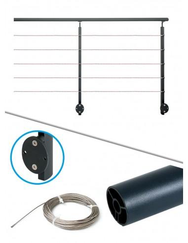 Kit de balustrade 2 m latéral - câble et noir