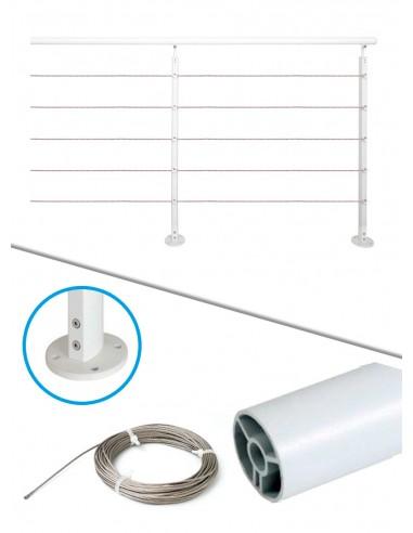 Kit de balustrade 2 m à plat - câble et blanc