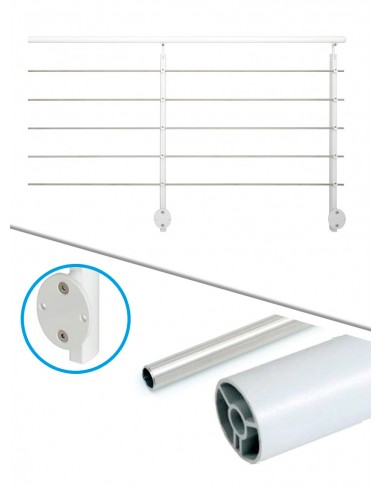 Kit de balustrade 2 m latéral - tube et blanc