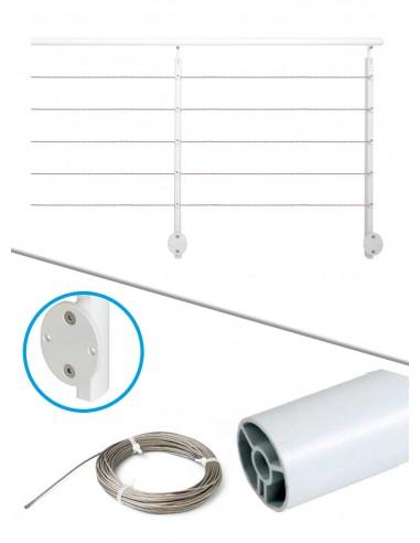 Balustradepakket 2 m lateraal - kabel en wit