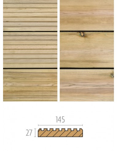 Geïmpregneerd terras (grenen) 27x145mm - glad - geribbeld