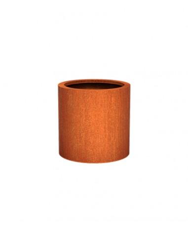 Bac à fleurs en acier Corten cylindrique