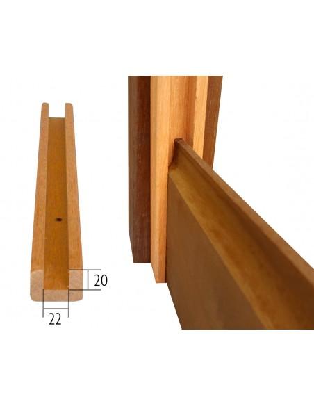Profil U rainurés en bois exotique