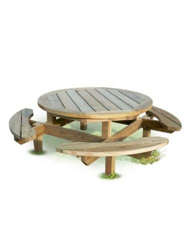 Table en bois ronde avec banc