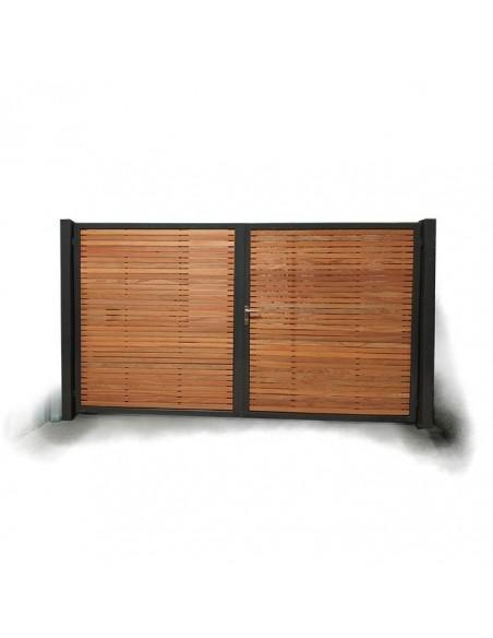 Portail bois cadre métalique