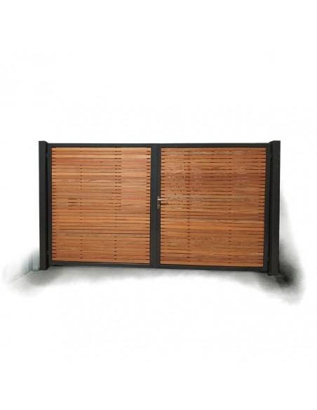 Portail bois cadre métallique