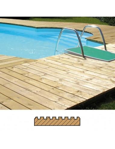 Terrasse Pin Traité (SRN) lisse-rainuré 27x145 mm avec vis et chevrons (m2)