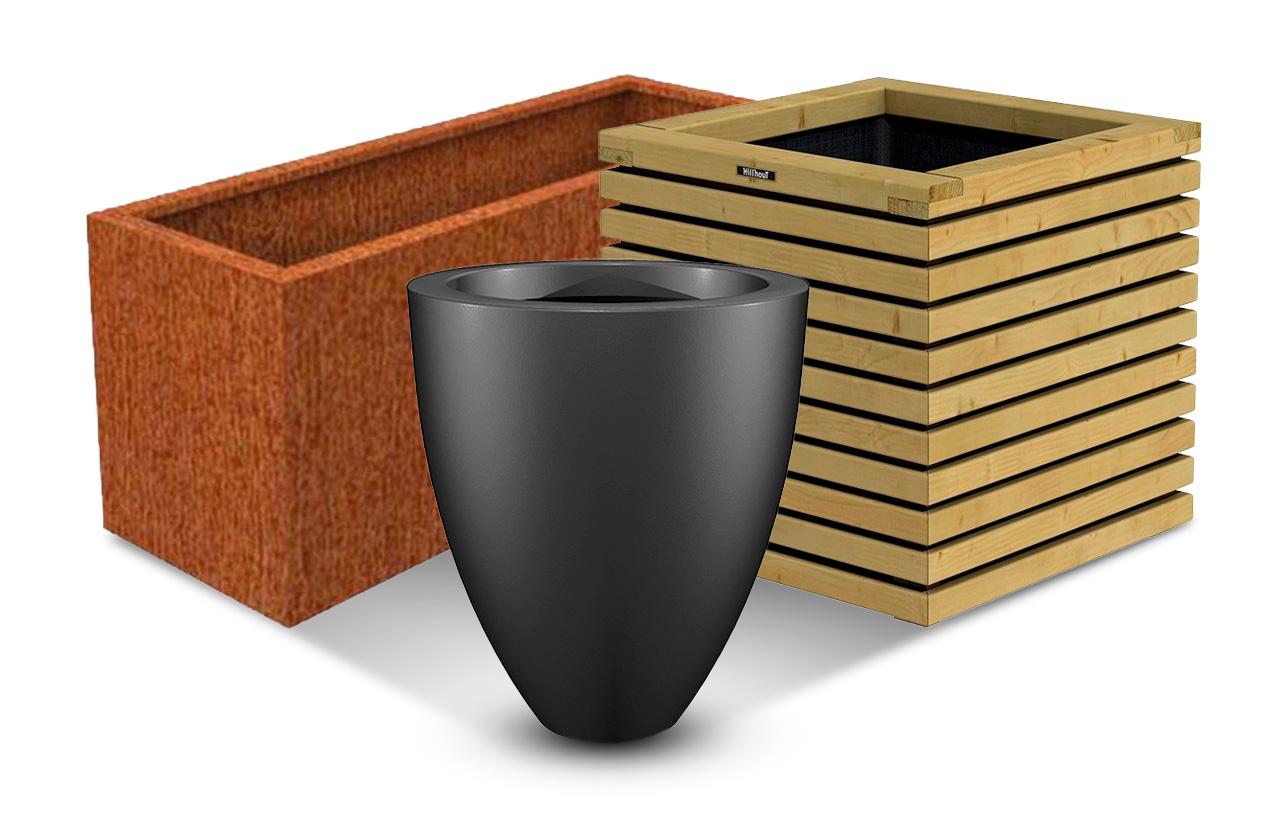 bacs à fleurs en bois, métal ou  polyester