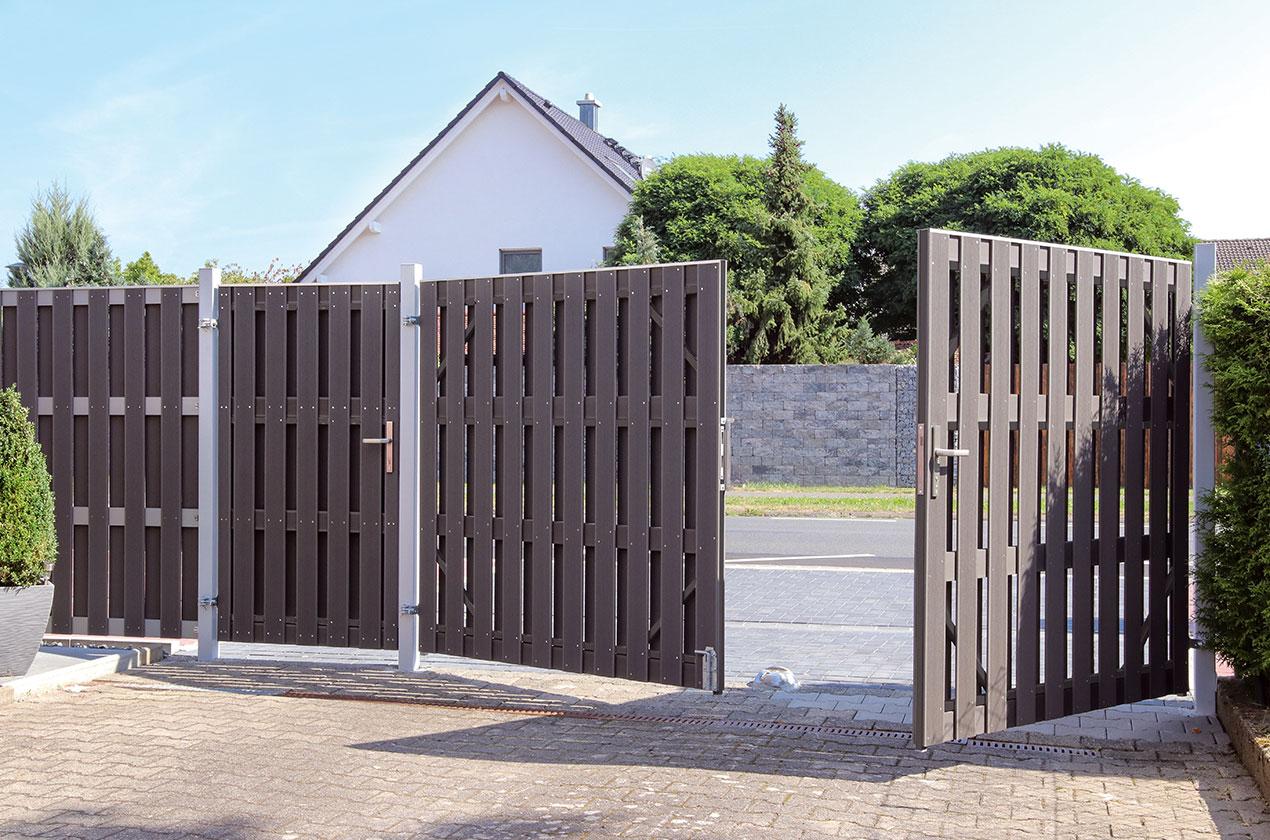 porte simple et portail double bois composite