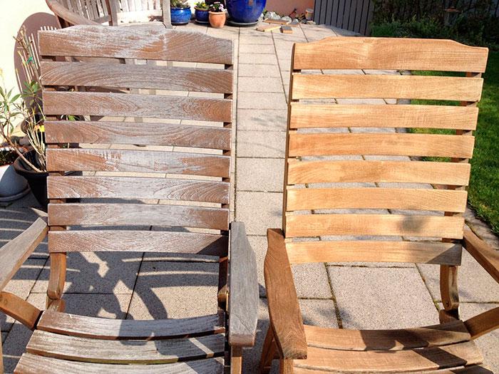 Dégriseur bois sur mobilier de jardin: chaises avant- après
