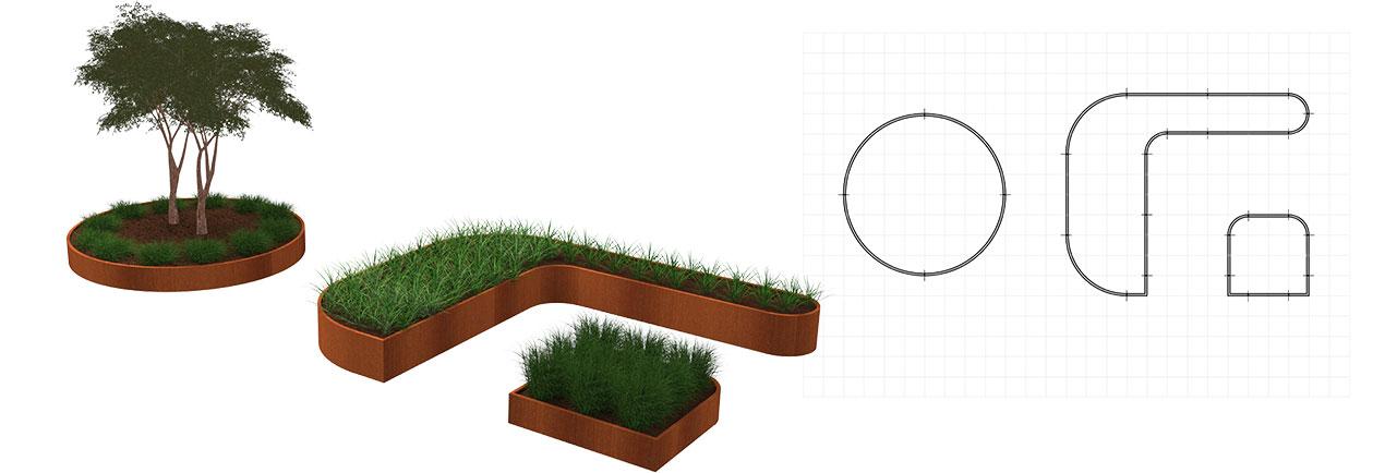 Exemples avec d'autres formes et dimensions de retenue de terre