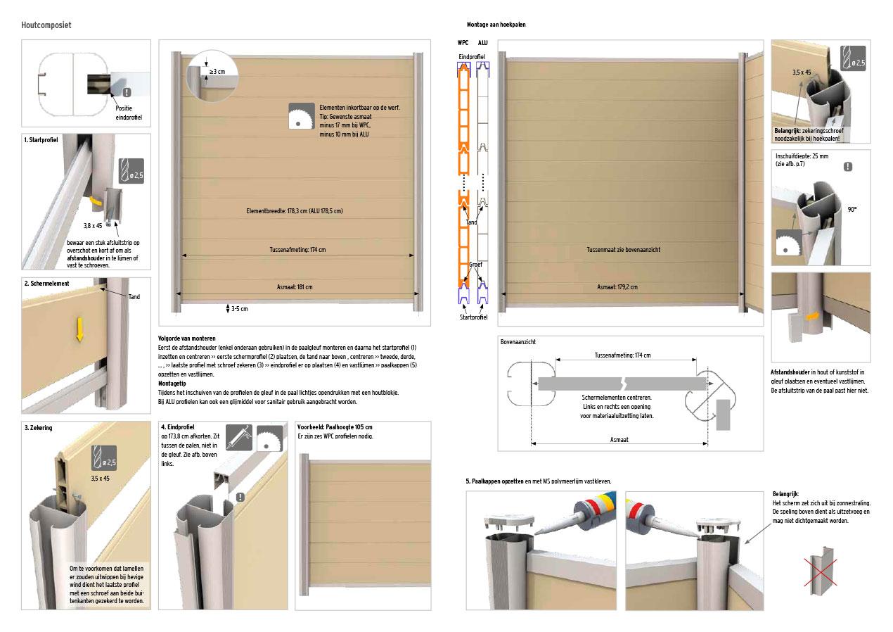 Montagehandleiding voor palissade van composiethout op aluminium palen