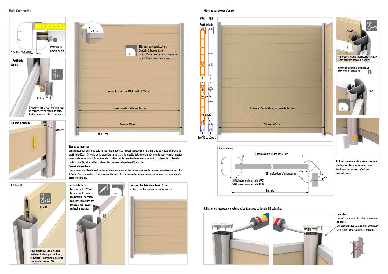 Notice de montage pour palissade en bois composite sur poteaux en aluminium