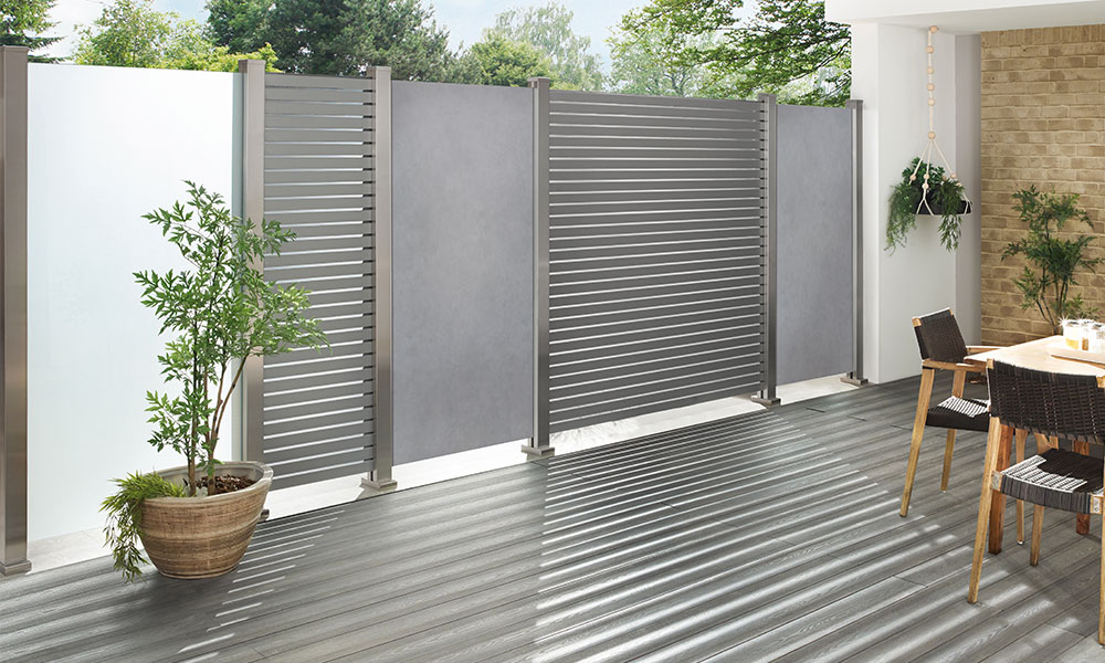 palissadepaneel keramiek en aluminium grijs