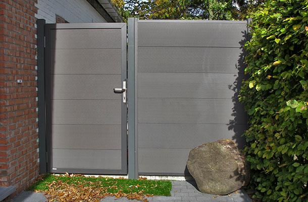 porte de jardin en bois composite anthracite cadre anthracite