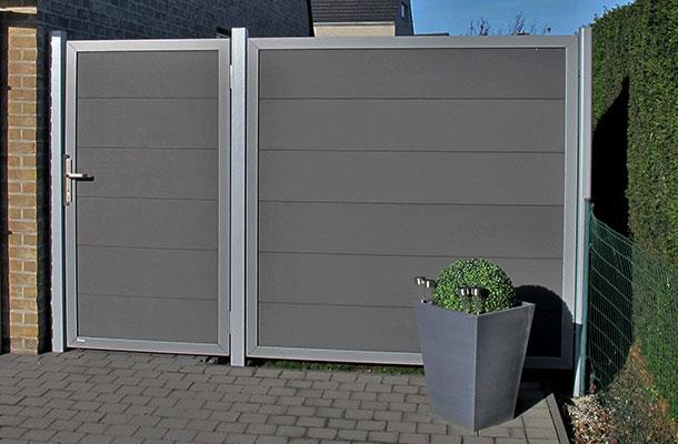 porte de jardin en bois composite anthracite cadre argenté