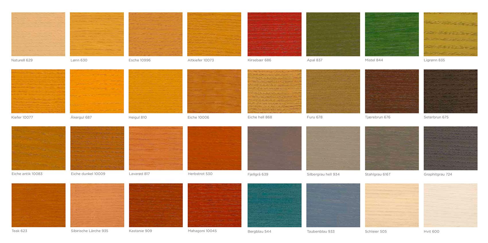 couleurs disponibles pour le saturateur de bois Jotun