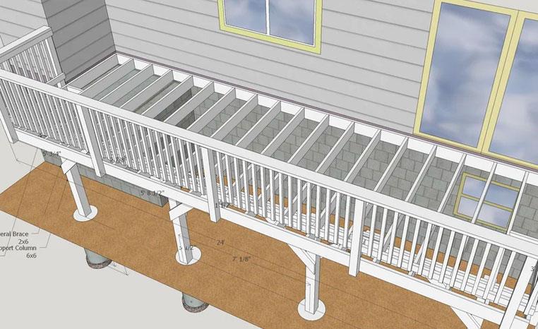 Exemple de plan de terrasse 3D réalisé avec l'aide de Google Sketchup