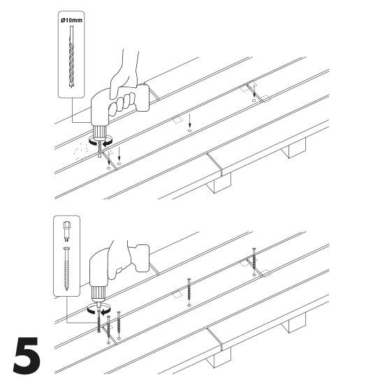 remplacement d'une lame de terrasse avec des vis 5