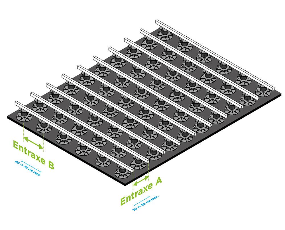 Terrasse sur plots réglables sur roofing ou EPDM